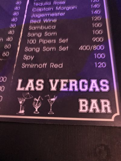 Carta de bebidas de Las Vegas - Chiang Mai