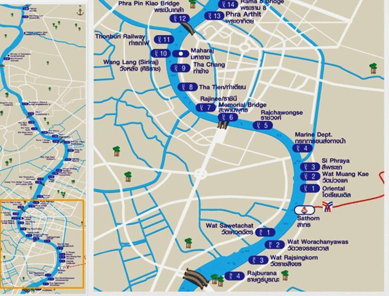 Mapa Paradas Barcos Rio Chao Phraya Bangkok