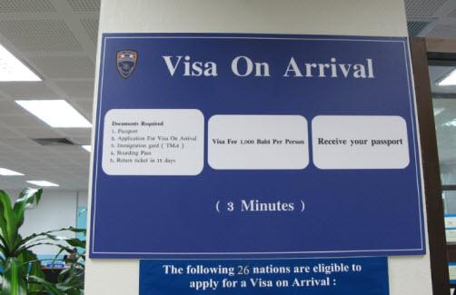 Visa on-arrival en Tailandia