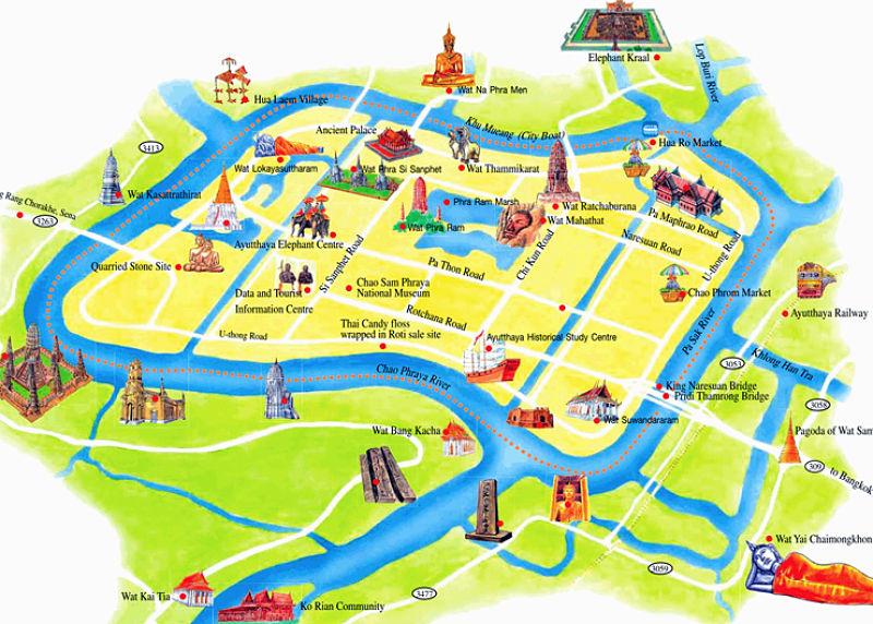 Mapa Ayutthaya - Tailandia