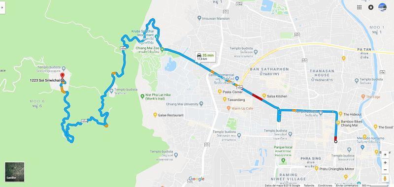Mapa para llegar a Doi Suthep desde Tha Phae Gate
