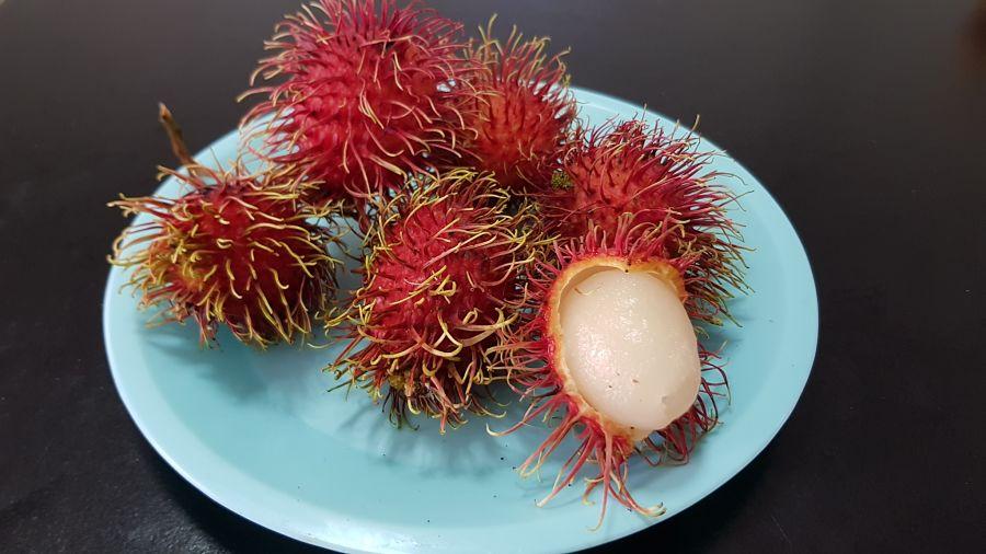 Frutas Tropicales de Tailandia - Rambután Abierto