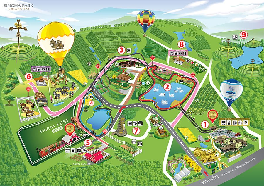 Mapa turístico del Singha Park de Chiang Rai