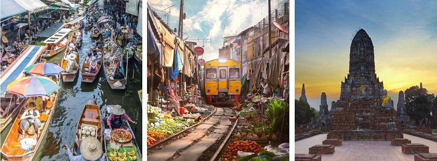 Excursión Mercado Flotante, de las Vías del Tren yAyutthaya desde Bangkok