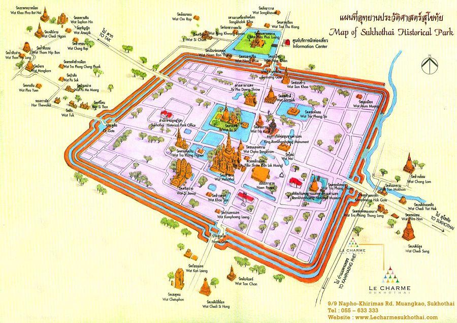 Mapa Turístico deSukhothai