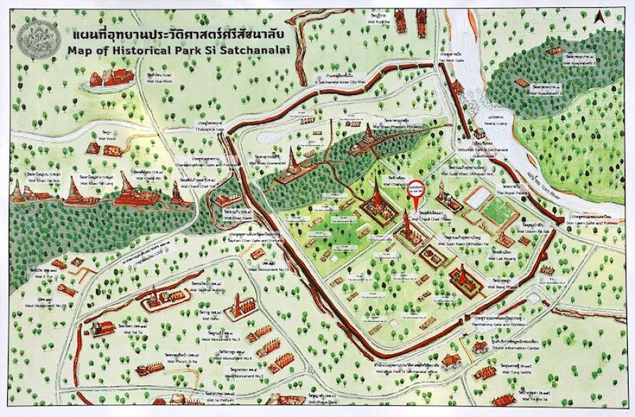 Mapa Turístico del Parque Histórico de Si Satchanalai