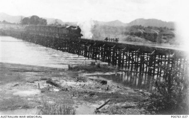 Viaducto del Tren de la Muerte de Kanchanaburi. Foto propiedad de la Australian War Memorial
