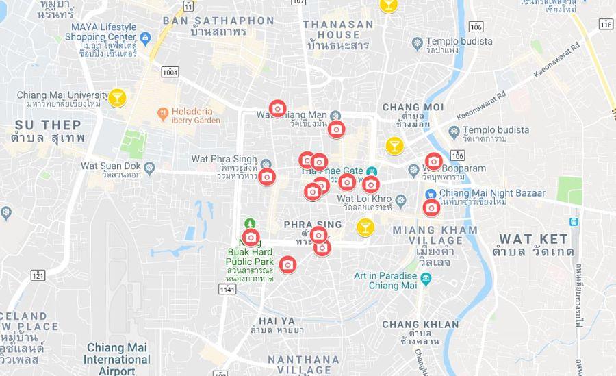 Mapa De Chiang Mai.Mapa Turistico De Chiang Mai Norte De Tailandia