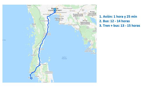Mapa de Bangkok a Phuket