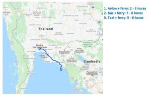 Mapa de Bangkok a Koh Chang
