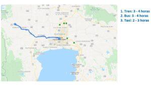 Mapa de Bangkok a Kanchanaburi
