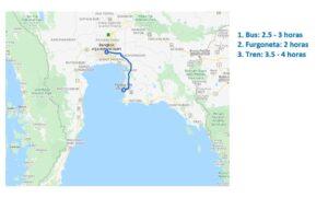Mapa de Bangkok a Pattaya